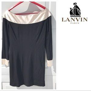 Vintage 70s LANVIN black wool silk Dress 44 8